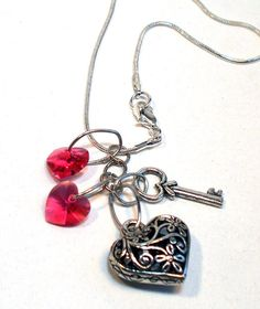 Valentines Heart and Key Red Swarovski Heart Necklace by lindab142, $23.00 http://pinterest.com/sewinggranny/bnr/