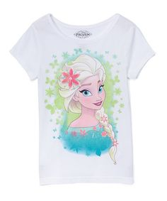 Look at this #zulilyfind! Frozen Elsa White Floral-Snowflake Tee - Girls #zulilyfinds