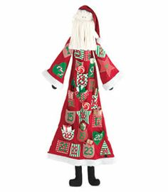 """How do you make the countdown to Christmas really fun for kids? Get Santa to help! Our Santa Advent Calendar has a few tricks up his sleeve - notice that his vintage-style coat is covered with numbered pockets, which you fill with tiny treats and surprises. The days will zip by and before you can say """"bowlful of jelly!"""" it'll be Christmas. An incredible 52"""" tall."""