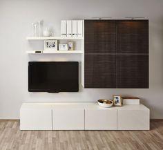 meuble besta ikea et système modulable en blanc et marron foncé