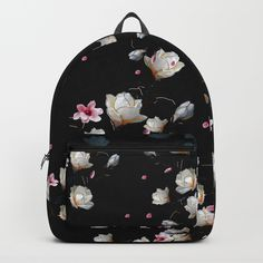 MAGNOLIA BRANCH Backpack by lostanaw #magnolias #branches #plants #flowers #floral #cute #pink #girls #female #pretty #backpack #schoolbag #fashion #bagpack #society6 #lostanaw #shop #wanelo #tumblr #italia #japan #instagram
