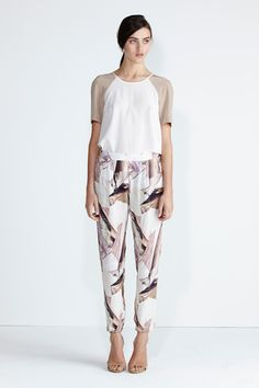 Secret South SS13/14 collection.  Moonstone Top in White/Nude Silk, Wildflower Pant in Glacier Silk. www.secretsouth.com.au Fashion Prints, Wild Flowers, Harem Pants, Spring Summer, Nude, Silk, Womens Fashion, Pretty, Clothes