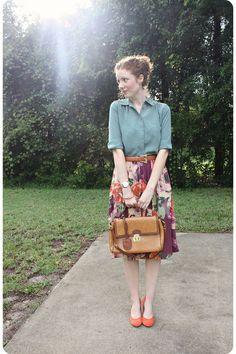 floral and denim  #teaching_outfit #teacher #work_attire
