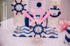 Preppy Nautical Pink Navy First Birthday Nautical Birthday Girls, Anchor Birthday, Sailor Birthday, Baby Girl First Birthday, Nautical Party, First Birthday Parties, First Birthdays, Birthday Ideas, Sailor Party