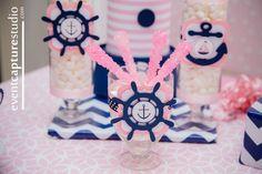 Preppy Nautical Pink Navy First Birthday