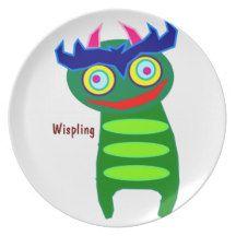 Wispling Monster Kids Dinner Plates