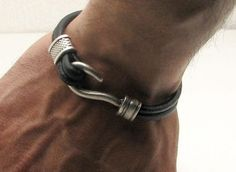 Black Leather Dual Strand Bracelet with Fish Hook Clasp - OZWristGear.com - OZ Wrist Gear Leather Bracelets