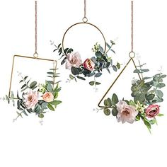 Pauwer Floral Hoop Wreath Set of 3 Artificial Flower Hanging Wall Hoop Garland Wedding Nursery Wall Decor (Clematis with Tea Rose). You can also add the starry string lights on the wreath to create a warm and romantic atmosphere at night. Wall Decor Set, Nursery Wall Decor, Diy Wall, Nursery Ideas, Silk Flower Arrangements, Flower Garlands, Paper Garlands, Garland Wedding, Wedding Decorations