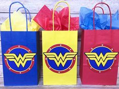 Wonder Woman Inspired Party Favor Bags - Goody Bags, Treat Bags, First Birthday, Baby Shower, Birthday Party, Superhero