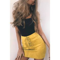 Yoins Yellow Suede Lace-up Design Mini Skirt with Back Zipper ($19) ❤ liked on Polyvore featuring skirts, mini skirts, yellow, suede mini skirt, yellow mini skirt, high-waist skirt, high waisted skirts and suede skirt