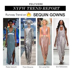 """""""NYFW Trend Report: Sequin Gowns"""" by polyvore-editorial ❤ liked on Polyvore featuring Erin Fetherston, Rosie Assoulin, Thom Browne, NYFW, pvnyfw and sequingowns"""