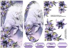 Majestic Unicorn DL Plaque Decoupage on Craftsuprint designed by Anne Lever - This lovely dl sized topper has a plaque to layer onto the main image and two layers of decoupage. It has three greetings and a blank greetings tag. The greetings are daughter, sister and best wishes. - Now available for download!