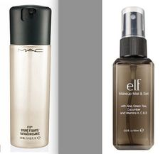 ELF Makeup Mist & Set costs 3$ and is a dupe of MAC Fix+ and Model In A Bottle Original Spray. Setting sprays are spritzed on your face lightly before or after makeup application. Apply it before your makeup to help foundation blend easier, or spray it on after you've applied your makeup to set it and remove any powdery or cakey texture.  Mist & Set is also a great pick-me-up throughout the day if your makeup starts to look dull.