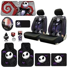 New Design 14 Pieces Nightmare Before Christmas Jack Skellington Car Truck SUV Seat Covers Rubber Front and Rear Floor Mat Sunshade CD Visor Air Fresheners Keychain Set with Little Tree Air Freshener by Yupbizauto Nightmare Before Christmas Rings, Nightmare Before Christmas Decorations, Golf Cart Seat Covers, Truck Seat Covers, Jack The Pumpkin King, Cute Car Accessories, Rubber Floor Mats, Thing 1, Cute Cars