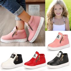 reputable site 08273 bfd42 Boys Girls Kids Toddler Pu Leather Zipper Ankle Boots Hi Top Trainers Shoes