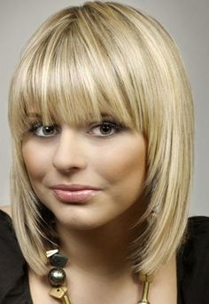 long straight bob with short bangs -