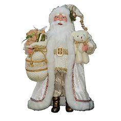 "16"" Inch Standing White & Gold Santa Claus Christmas Figure Figurine Decoration 41601. #SantaClaus #Santa #Claus #Christmas  #Figurine #Decor #Gift #gosstudio .★ We recommend Gift Shop: http://www.zazzle.com/vintagestylestudio ★"