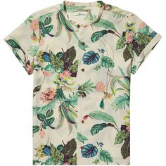 Scotch & Soda Botanical print shirt ($50) ❤ liked on Polyvore featuring tops, t-shirts, shirts, t shirts, holiday tops, holiday shirts, short sleeve t shirts and polyester shirt