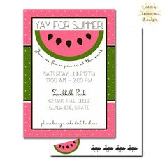 Summer Party Invitation - Watermelon - Printable Customized by GoldenMomentsDesign on Etsy https://www.etsy.com/listing/187512322/summer-party-invitation-watermelon
