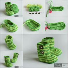 DIY Cute Crochet Baby Booties Pattern - Step by step - Step by step Ideas Crochet Diy, Stitch Crochet, Beginner Crochet Projects, Crochet Ideas, Baby Knitting Patterns, Baby Patterns, Crochet Patterns, Baby Booties Free Pattern, Pattern Baby