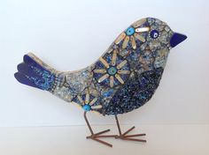 Blue and Orange Mosaic Bird by RachaelCao on Etsy, $35.00