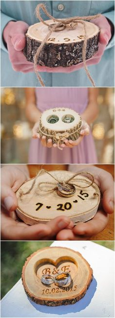 rustic tree stump wedding ring holder ideas / http://www.deerpearlflowers.com/rustic-woodsy-wedding-trend-tree-stump/ #rustic #rusticwedding #countrywedding #weddingideas