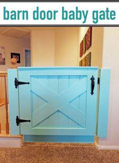 Tutorial on how to make a custom barn door style baby gate.