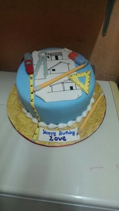 Architect's Birthday Cake Cakes We Are Cupcakes, Cupcake Cakes, Architecture Cake, Engineering Cake, Cake For Husband, Fashion Cakes, Cakes For Men, Unique Cakes, Themed Cakes