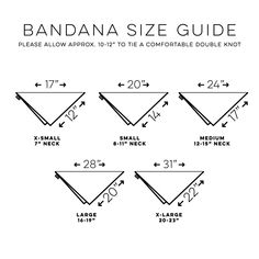 DIY doggie Bandana sizes chart you can sew yourself out of