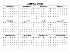 2019 Monthly Calendar Printable Monthly Calendar Templates