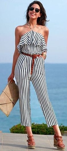 #summer #stripes #style  |  Stripe Jumpsuit