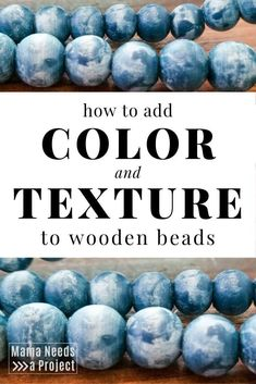 Learn how to colorwash wooden beads with this simple color dyeing method. Colorwashing is a great way to add texture and color to any wood project. How to dye wood. Wood Bead Garland, Beaded Garland, Small Plastic Containers, Wooden Diy, Diy Wood, Wood Wood, Wooden Crafts, Beading Tutorials, Beading Ideas