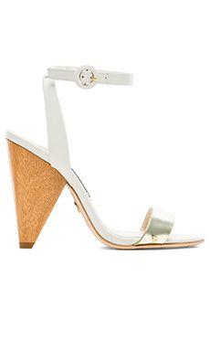 Alice + Olivia Cici Vachetta Heel in White & Pale Gold