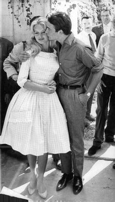 Brigitte Bardot & Jacques Charrier on their wedding day , 1959