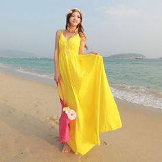 2014 Summer Ankle-length V-neck Yellow Dress for Women Girls's Fashion Modal Bohemian Dress Sleeveless Beach Long Dress US $37.89