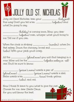 PRINTABLE Christmas Carol Mad Libs by Spool and Spoon for Sumo's Sweet Stuff                                                                                                                                                                                 More
