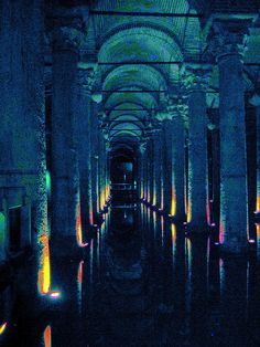 "Istanbul: Cistern built by Emperor Justinian ca. 550 ad., with columns ""repurposed"" from Roman temples."