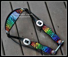 Custom handpainted rainbow zebra headstall, with rainbow conchos