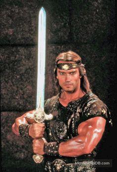 Red Sonja - Promo shot of Arnold Schwarzenegger Conan The Barbarian Movie, Barbarian King, Conan Movie, Fantasy Warrior, Fantasy Rpg, Patrick Schwarzenegger, Fantasy Movies, Fantasy Characters, Arnold Movies