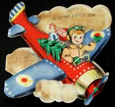 Vintage Greetings Card Flying in for Christmas by vintagevic, via Etsy.
