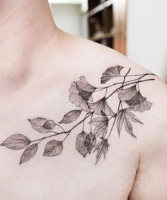 Decent Flower and Branch Tattoos on Shoulder for Men and Women