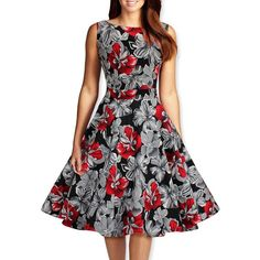 2015 Audrey Hepburn style vintage O-neck sleeveless print vestidos robe ball gown dress women prom rockabilly casual dresses Vintage Mode, Style Vintage, Vintage Fashion, 1950s Style, Cotton Dresses, Cute Dresses, Vintage Dresses, 60s Dresses, Ball Gown Dresses