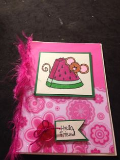 Handmade card by me!  Sweet and sassy stamps cocoa the mouse