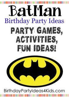 Fun ideas for a Batman theme birthday party for kids. Batman theme party games, activities, party food ideas, icebreaker game, decoration and invitation ideas. Batman Party Games, Batman Party Supplies, Birthday Party Games For Kids, Birthday Party Themes, Birthday Ideas, 4th Birthday, Lego Batman Birthday, Superhero Birthday Party, Batgirl Party