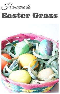 How to Make Homemade Easter Grass - Skip the neon plastic Easter grass and fill your baskets with your own eco-friendly Easter grass. Simple to make tutorial. | Easter Craft | Easter Craft for Kids | Eco-Friendly Craft |