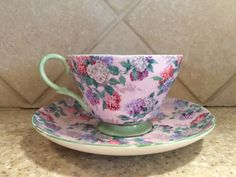 Vintage Shelley Chintz Tea Cup & Saucer Set Pink Green Summer Glory Excellent #Shelley