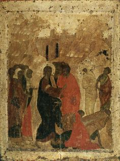 Resurrection of Lazarus, from the festal row of the iconostasis in the Annunciation Cathedral of the Moscow Kremlin. The Resurrection of Lazarus: Icons / OrthoChristian. Byzantine Icons, Byzantine Art, Andrei Rublev, Raising Of Lazarus, Nativity Church, Russian Icons, Russian Orthodox, Jesus Cristo, Spirituality
