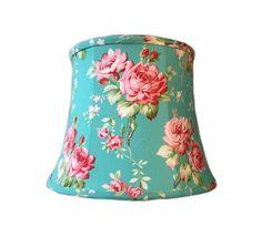 Floral Lamp Shade, Aqua Lamp Shade, Rose Lamp Shade, Shabby Chic Lamp Shade, Boho Lamp Shade, FREE SHIPPING - Continental USA