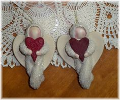 """Each Angel is approximately 3-1/2"""" tall and is completely handcrafted. I do not use any moulds or store bought parts, therefore, no two will ever be exactly alike ... this is what makes every Keepsake Ornament a special little piece of art to be treasured forever!!!     personalized gifts from expectant mom to bereavement and all of life in-between!    I handstamp a name and date on the backside.    My original designs are not available in a shop near you     www.SweetpeaKeepsakes.com"""