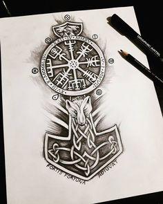 Viking Tattoo Sleeve, Viking Tattoo Symbol, Rune Tattoo, Norse Tattoo, Tattoo On, Celtic Tattoos, Sleeve Tattoos, Tattoo Maori, Thai Tattoo